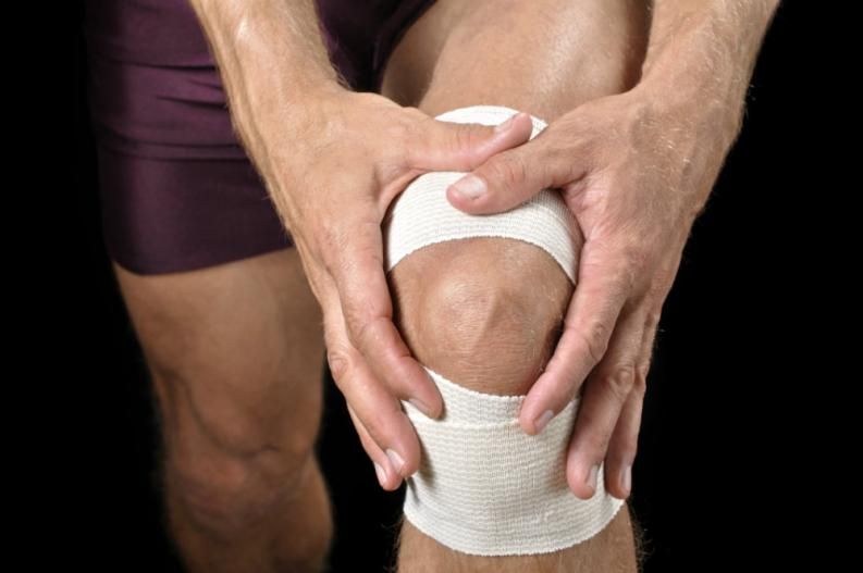 lesion pierna rodilla vendada